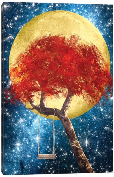 Swing Under A Golden Moonlight Canvas Art Print