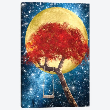 Swing Under A Golden Moonlight 3-Piece Canvas #DVE59} by Diogo Verissimo Canvas Wall Art
