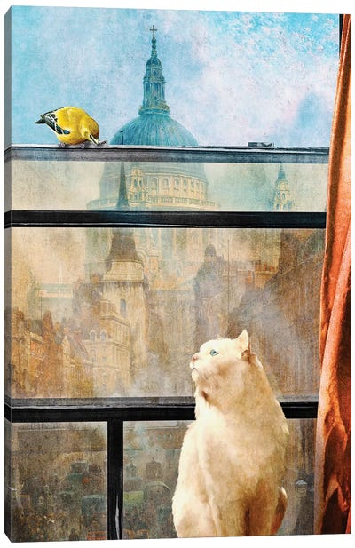 The Bird And The Cat Canvas Art Print