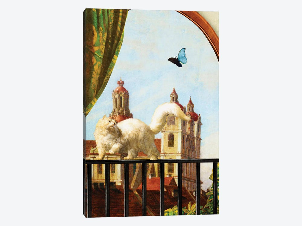 The Butterfly And The Cat by Diogo Verissimo 1-piece Canvas Print
