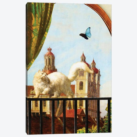 The Butterfly And The Cat 3-Piece Canvas #DVE62} by Diogo Verissimo Canvas Art Print