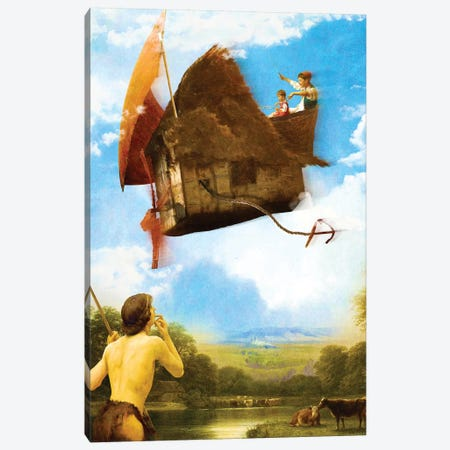 The Flying House 3-Piece Canvas #DVE67} by Diogo Verissimo Canvas Art