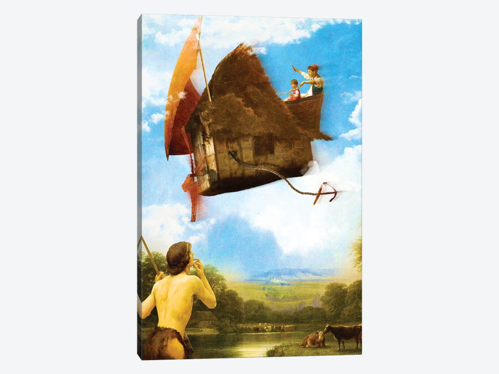 The Flying House by Diogo Verissimo 1-piece Canvas Artwork