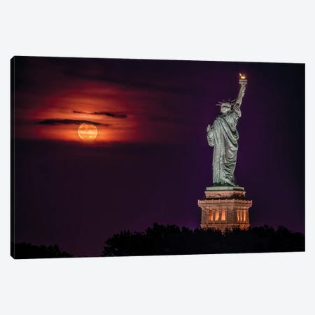 Statue at Moonrise Canvas Print #DVG164} by David Gardiner Canvas Artwork