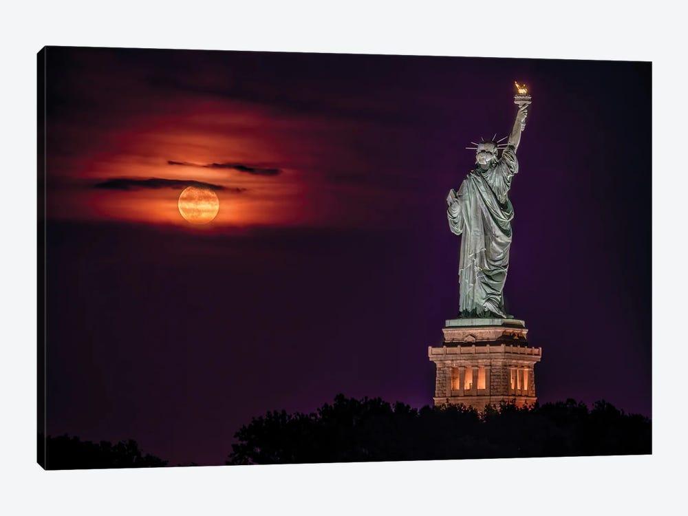 Statue at Moonrise by David Gardiner 1-piece Canvas Art Print
