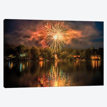 Lake Fireworks Canvas Print #DVG315} by David Gardiner Canvas Art Print