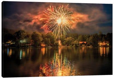 Lake Fireworks Canvas Art Print