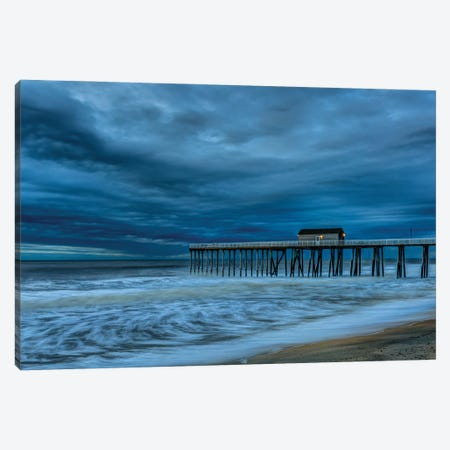 Stormy Pier Canvas Print #DVG391} by David Gardiner Canvas Art