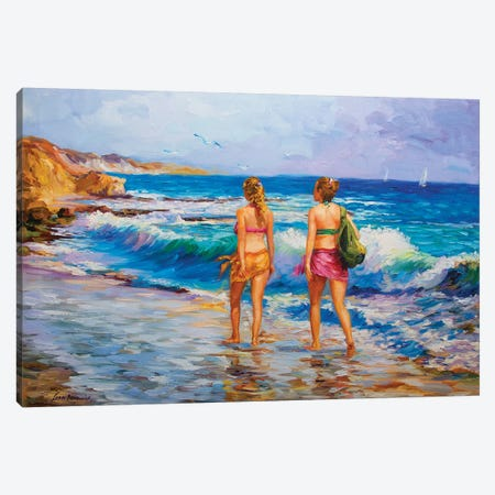 Two Girls Walking On The Beach Canvas Print #DVI100} by Leon Devenice Canvas Wall Art