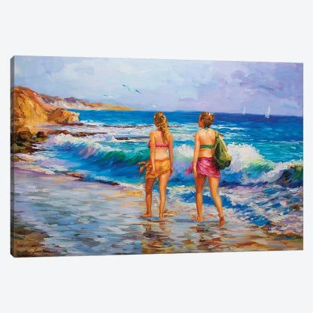 Two Girls Walking On The Beach Canvas Print #DVI100} by Leon Devenice Canvas Wall Art