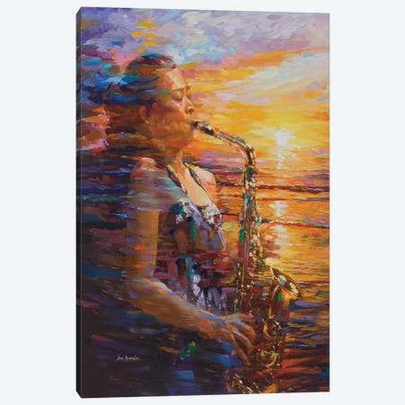 Sunset Saxophone 3-Piece Canvas #DVI120} by Leon Devenice Canvas Wall Art