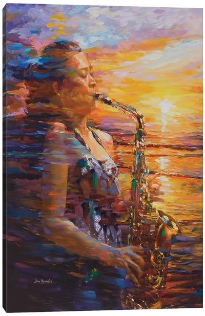 Sunset Saxophone Canvas Art Print