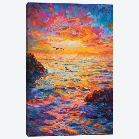 Sunset Over Ocean 3-Piece Canvas #DVI121} by Leon Devenice Canvas Artwork