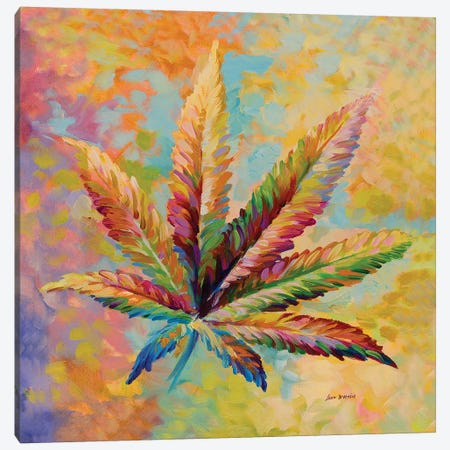 Marijuana Leaf V1  Canvas Print #DVI130} by Leon Devenice Canvas Print