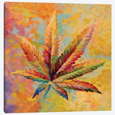 Marijuana Leaf V2 Canvas Print #DVI131} by Leon Devenice Canvas Print