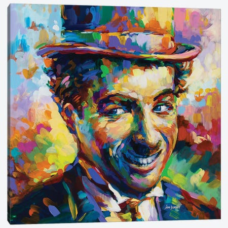 Charlie Chaplin Canvas Print #DVI134} by Leon Devenice Canvas Artwork
