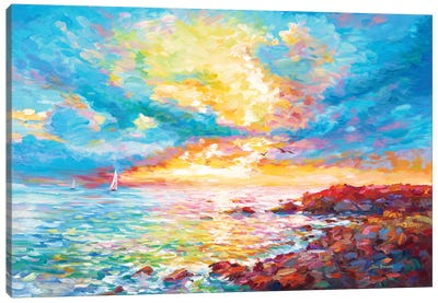 Sunset In Sardinia Canvas Art Print