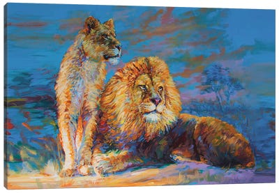 Lion And Lioness Canvas Art Print
