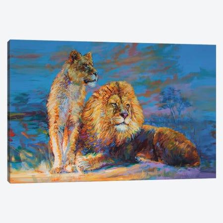 Lion And Lioness Canvas Print #DVI165} by Leon Devenice Canvas Art Print