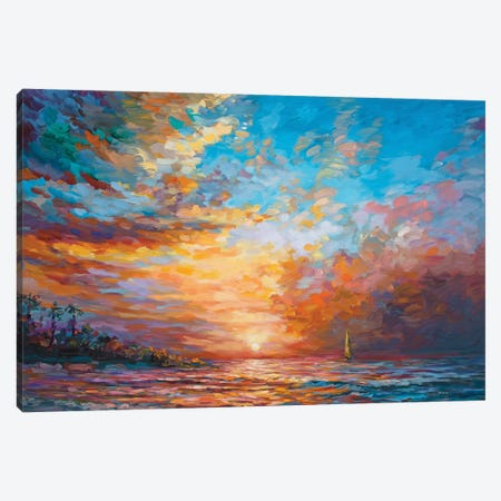 Caribbean Sunset Canvas Print #DVI185} by Leon Devenice Art Print