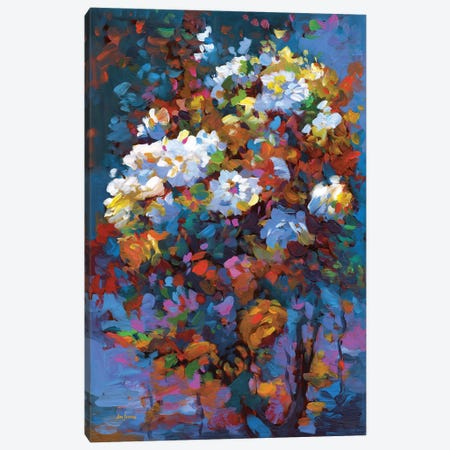 Wild Roses In Bloom 3-Piece Canvas #DVI202} by Leon Devenice Canvas Print