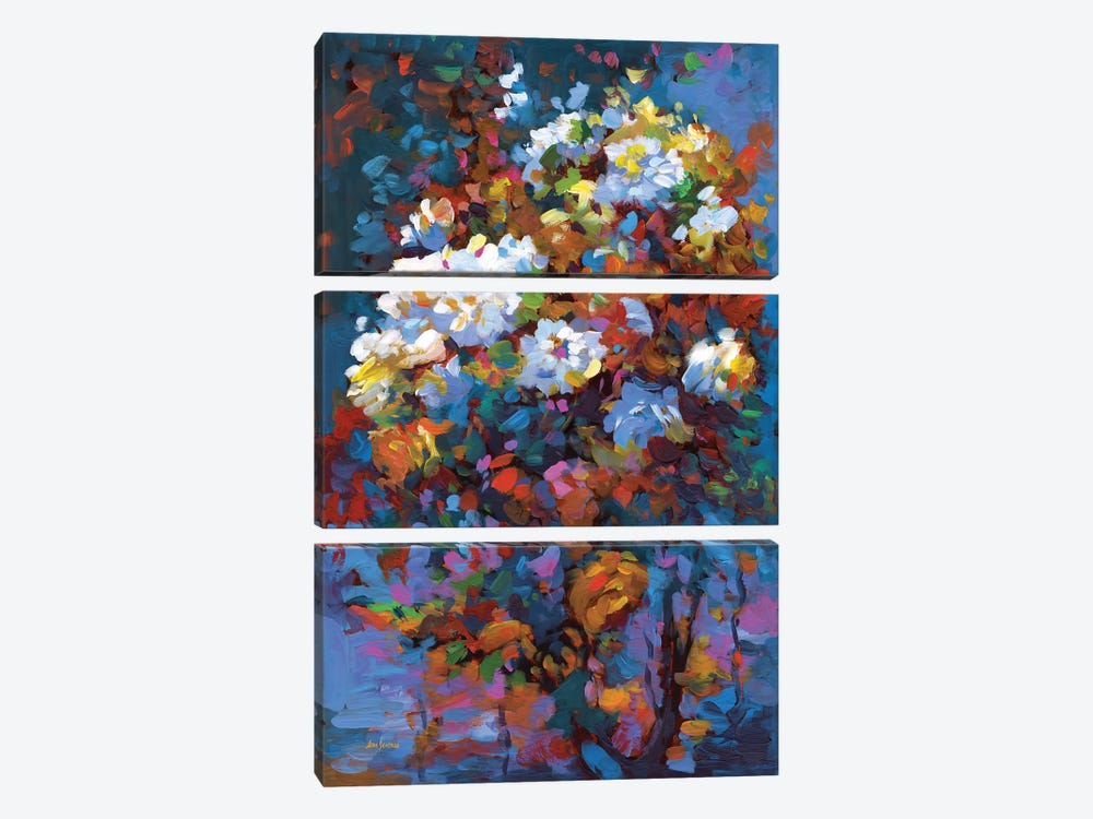 Wild Roses In Bloom by Leon Devenice 3-piece Canvas Art