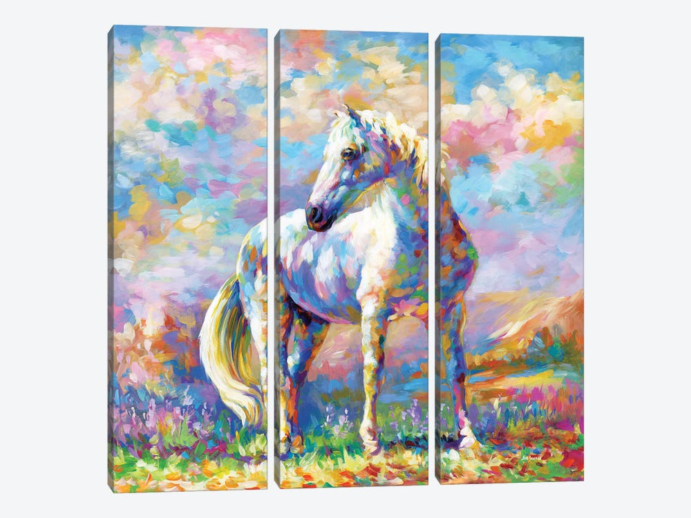 Horse In A Meadow by Leon Devenice 3-piece Canvas Artwork