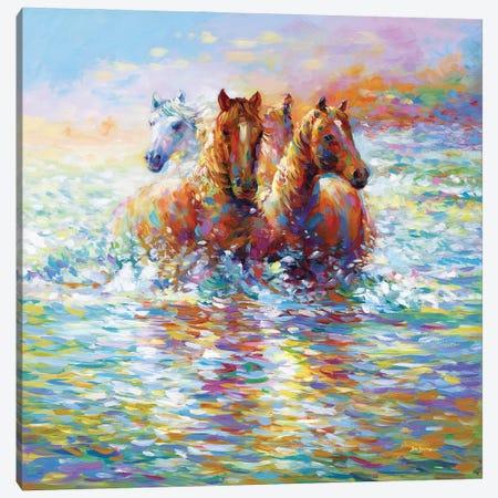 Horses Crossing The River Canvas Print #DVI225} by Leon Devenice Canvas Wall Art