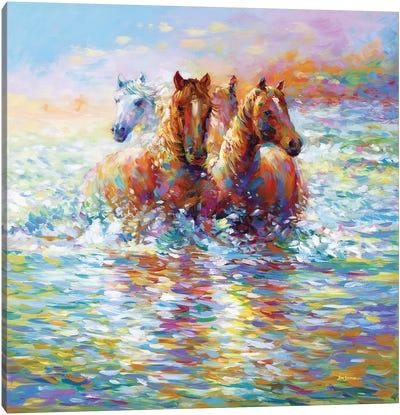 Horses Crossing The River Canvas Art Print