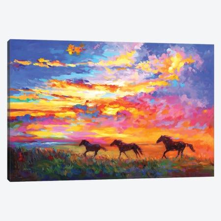 Wild Horses Running At Sunset Canvas Print #DVI253} by Leon Devenice Canvas Art