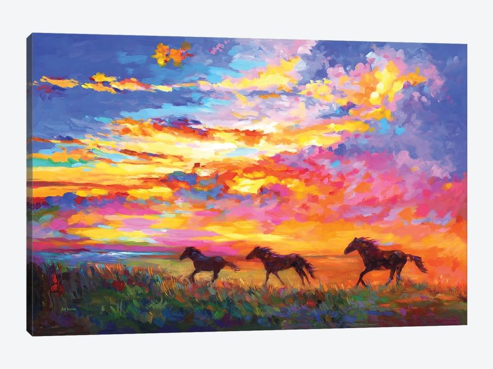 Wild Horses Running At Sunset by Leon Devenice 1-piece Canvas Wall Art