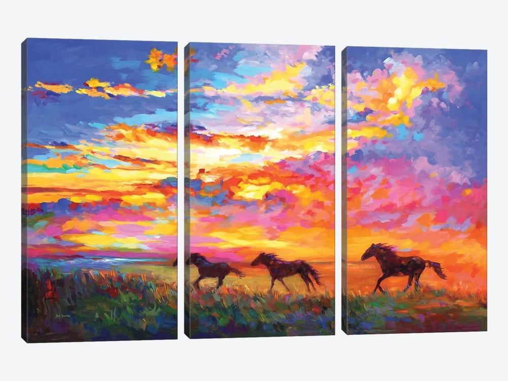 Wild Horses Running At Sunset by Leon Devenice 3-piece Canvas Wall Art