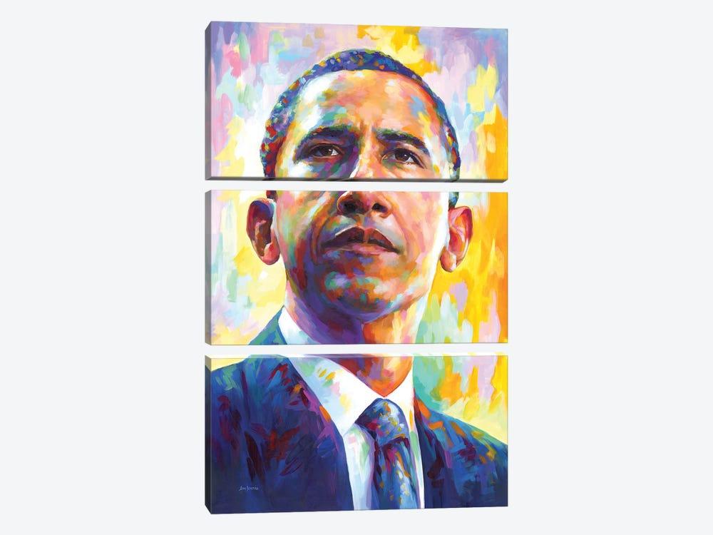 President Obama by Leon Devenice 3-piece Art Print