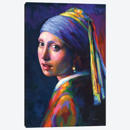 Girl With A Pearl Earring ,A Homage To Vermeer Canvas Print #DVI255} by Leon Devenice Canvas Print