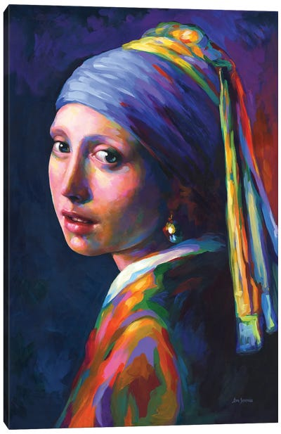 Girl With A Pearl Earring ,A Homage To Vermeer Canvas Art Print