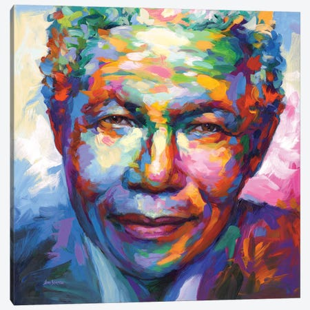 Nelson Mandela Canvas Print #DVI263} by Leon Devenice Art Print