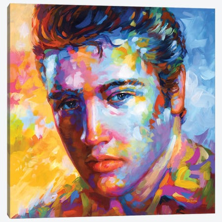 Elvis Presley Canvas Print #DVI264} by Leon Devenice Canvas Artwork
