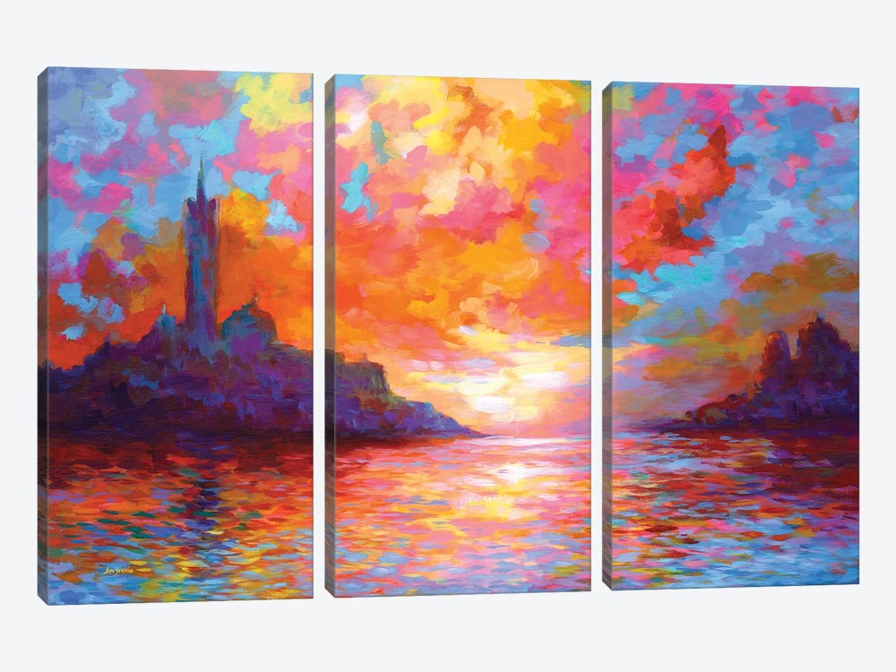 Sunset In Venice,A Homage To Claude Monet by Leon Devenice 3-piece Canvas Art