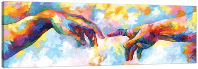 The Creation Of Adam,A Homage To Michelangelo Canvas Art Print