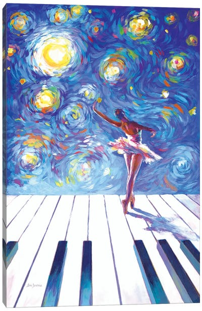 Van Gogh's Ballerina Reaching For The Stars Canvas Art Print