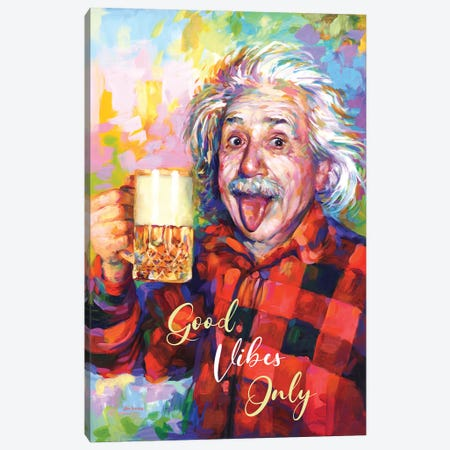Einstein, Good Vibes Only Canvas Print #DVI286} by Leon Devenice Canvas Wall Art