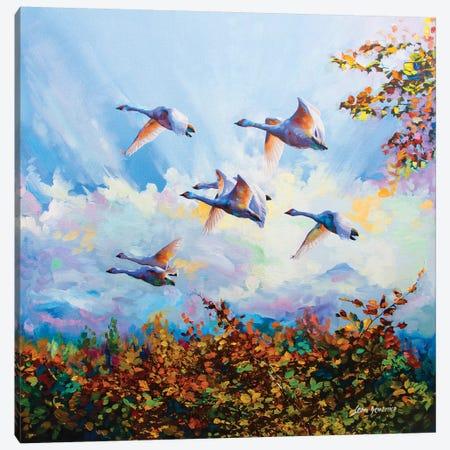 Flying Swans Canvas Print #DVI31} by Leon Devenice Canvas Wall Art