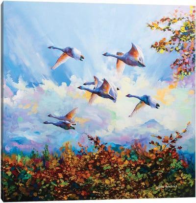 Flying Swans Canvas Art Print