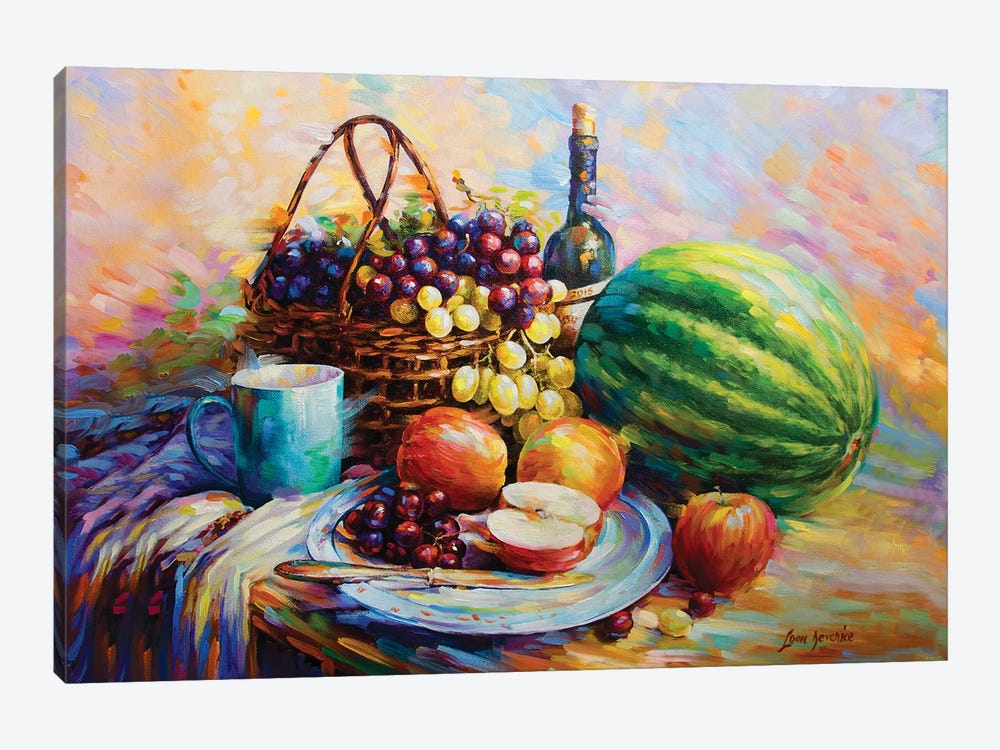 Fruits And Wine by Leon Devenice 1-piece Canvas Artwork