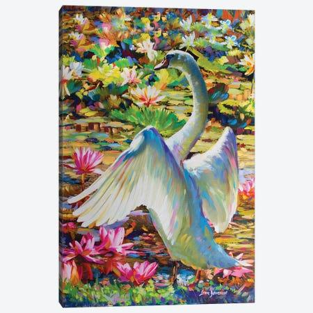 Lily Pond Queen Canvas Print #DVI46} by Leon Devenice Canvas Artwork