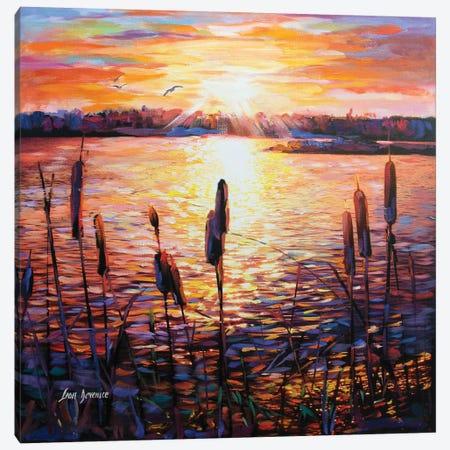Memories By The Lake Canvas Print #DVI48} by Leon Devenice Canvas Art Print