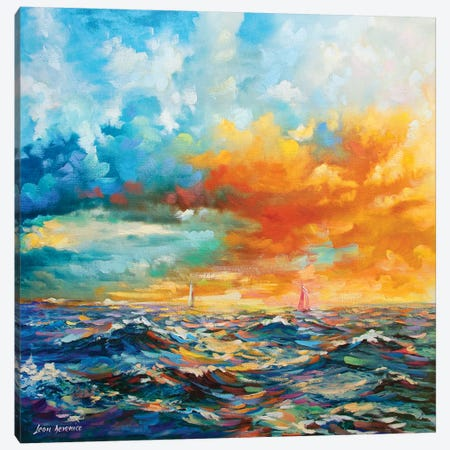 Ocean Blues Canvas Print #DVI57} by Leon Devenice Art Print