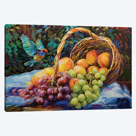 Peaches And Grapes Canvas Print #DVI61} by Leon Devenice Canvas Art Print