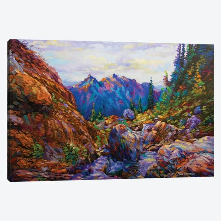 Secret Of The Blue Mountain Canvas Print #DVI70} by Leon Devenice Canvas Wall Art