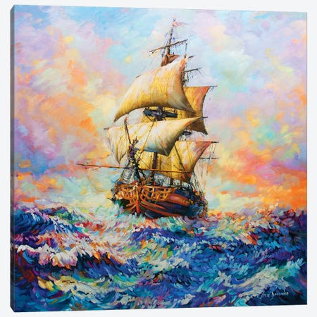 The Captain's Story Canvas Print #DVI87} by Leon Devenice Canvas Art